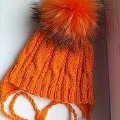 Работы для детей, ручной работы. Ярмарка Мастеров - ручная работа Шапка с меховым помпоном, шапка вязаная, апельсин. Handmade.