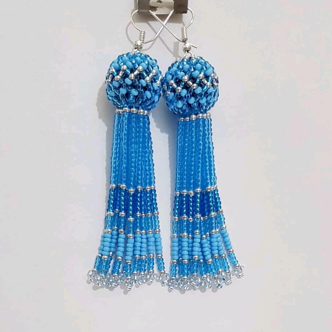 Blue long beaded tassel earrings, Tassel earrings, Kireevsk,  Фото №1