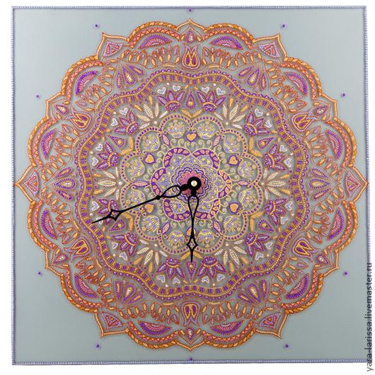 """Часы для дома ручной работы. Ярмарка Мастеров - ручная работа. Купить Мандала """"Нежность"""" Часы настенные, интерьерные. Handmade."""