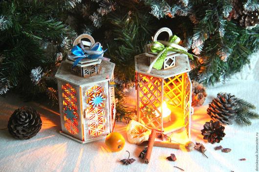 Новый год 2017 ручной работы. Ярмарка Мастеров - ручная работа. Купить Декоративный фонарик. Handmade. Фонарь, подсвечник подарок