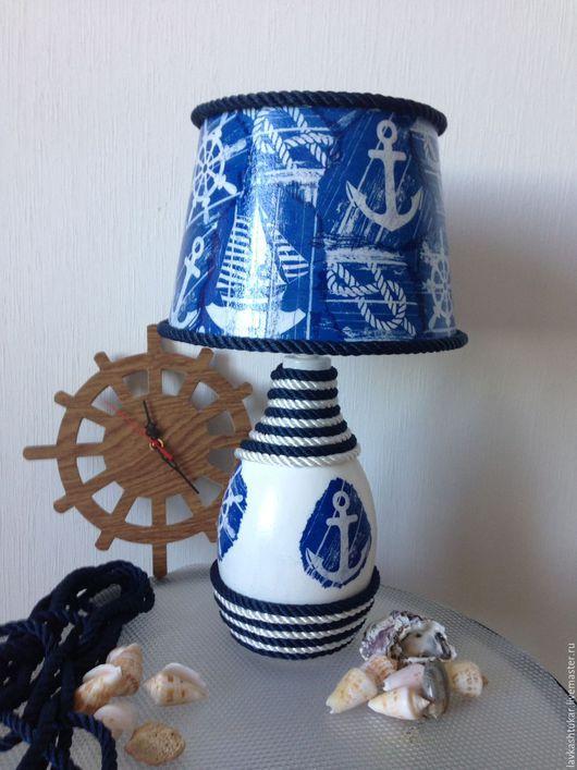 """Освещение ручной работы. Ярмарка Мастеров - ручная работа. Купить Лампа / светильник """"По морям, по волнам"""".  Морской стиль.. Handmade."""