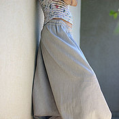 Одежда ручной работы. Ярмарка Мастеров - ручная работа Шаровары бежевые, хлопок со льном. Handmade.