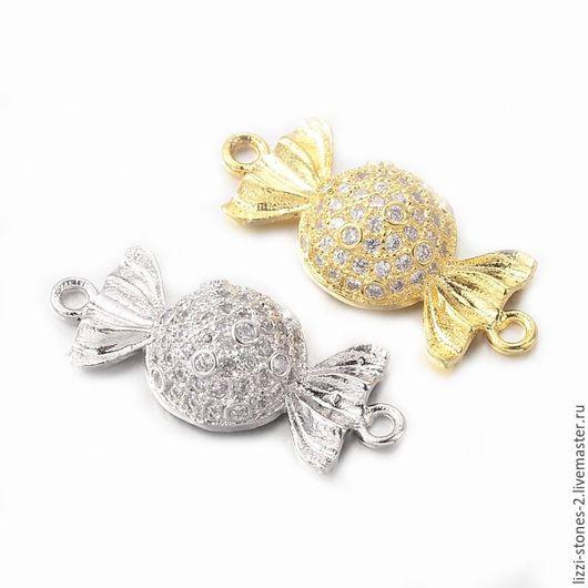 Коннектор Конфета серебро и золото (Milano) Евгения (Lizzi-stones-2)