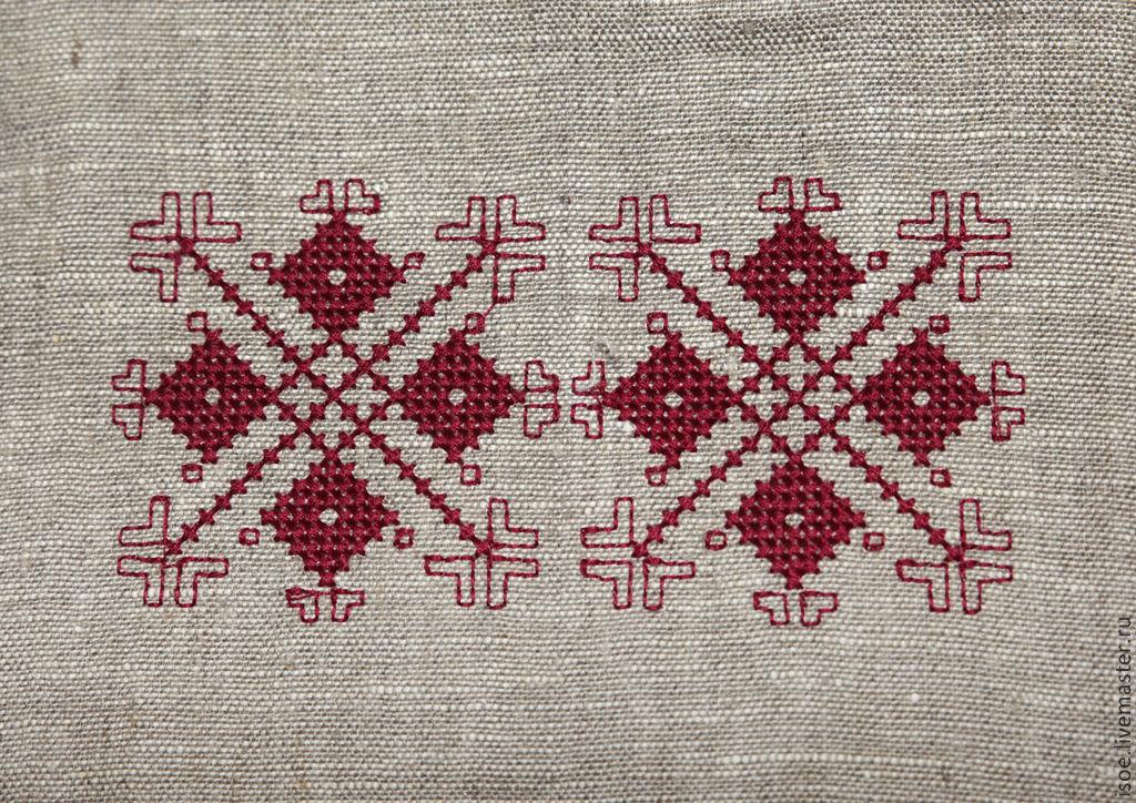 Сумочка с красным орнаментом (лен, вышивка)