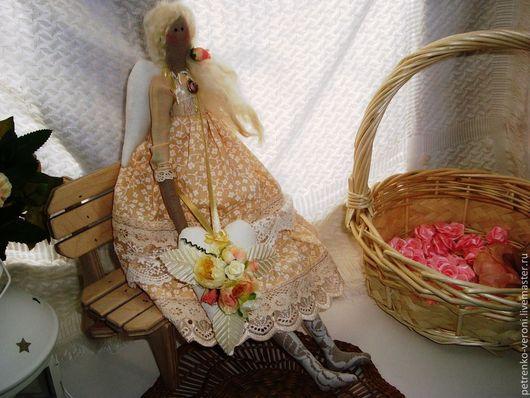 Куклы Тильды ручной работы. Ярмарка Мастеров - ручная работа. Купить Розочка. Handmade. Бежевый, ленты атласные