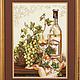 """Натюрморт ручной работы. """"Изабелла"""". 'Вышивка от Кнопки...'. Интернет-магазин Ярмарка Мастеров. Натюрморт с фруктами, виноград, бокал"""