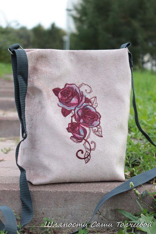 Женские сумки ручной работы. Ярмарка Мастеров - ручная работа. Купить Пурпурные.  Сумка - настроение. Handmade. Бежевый, Сумка с вышивкой