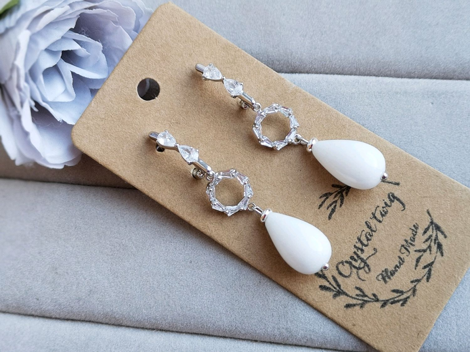 Earrings for the bride with white agate, Earrings, Moscow,  Фото №1