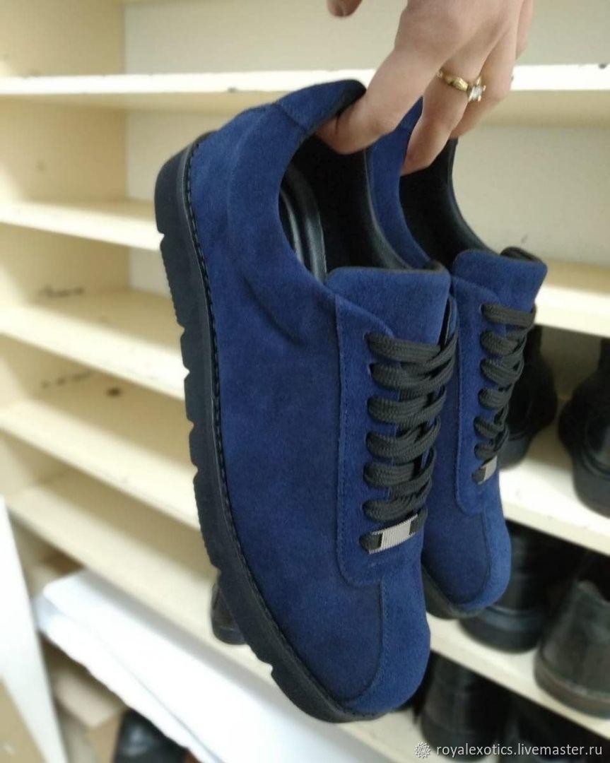Мужские спортивные  туфли из натуральной замши, ручная работа