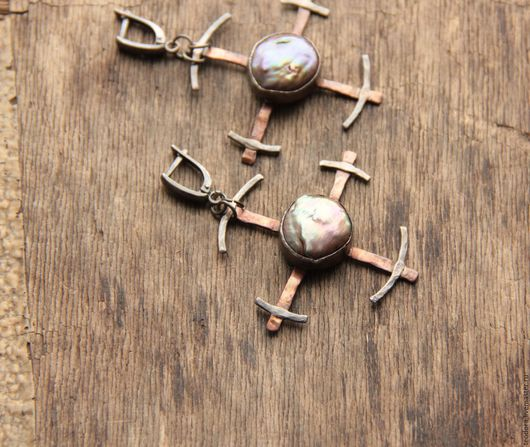Серьги серебро жемчуг с медью