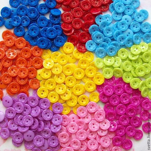 Шитье ручной работы. Ярмарка Мастеров - ручная работа. Купить Разноцветные пуговицы (диаметр 12 мм). Handmade. Пуговица, цветочек