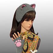 Аксессуары handmade. Livemaster - original item Headband with ears knit Cat Fingerless gloves with paws kit. Handmade.