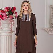 Одежда handmade. Livemaster - original item Dress linen boho Cinnamon in Russian style. Handmade.