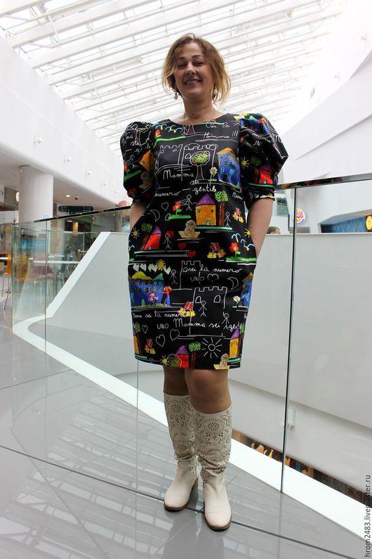 """Платья ручной работы. Ярмарка Мастеров - ручная работа. Купить Платье """"Mamma mia"""" из хлопка Dolce Gabbana. Handmade. Черный"""
