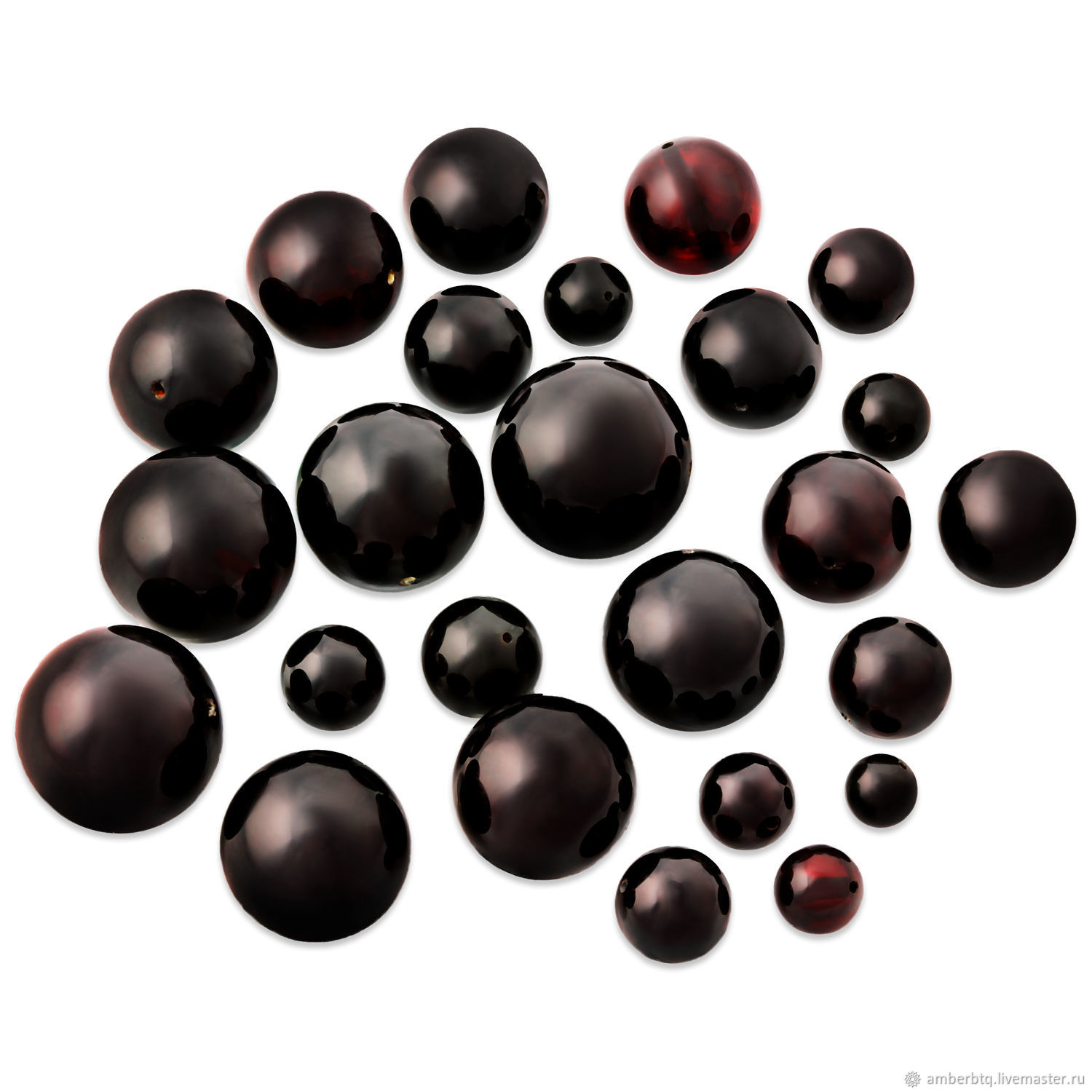 Amber ball 10mm-color Cherry dark-Drilled-Real, Beads1, Kaliningrad,  Фото №1