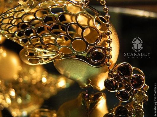 """Серьги ручной работы. Ярмарка Мастеров - ручная работа. Купить Серьги """"Золотые рыбки"""" Шпинель, бриллианты, золото.. Handmade."""