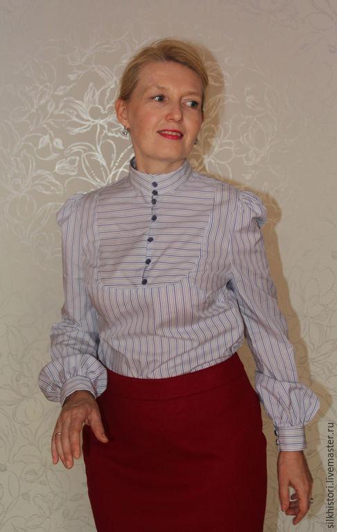 Блузки ручной работы. Ярмарка Мастеров - ручная работа. Купить Блузка из хлопка Ольга. Handmade. Белый, блузка в офис