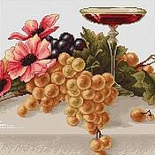 """Картины и панно ручной работы. Ярмарка Мастеров - ручная работа """"Анемоны и виноград"""" Вышитая картина.Вышивка крестом.. Handmade."""