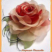 Русский стиль ручной работы. Ярмарка Мастеров - ручная работа брошь, оранжевая роза  из ткани. Handmade.