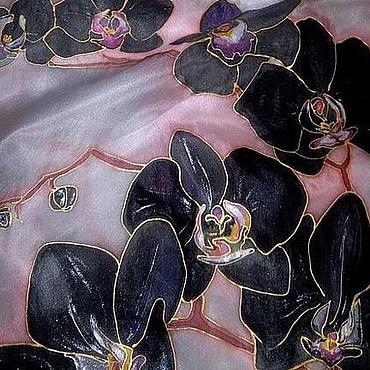 """Аксессуары ручной работы. Ярмарка Мастеров - ручная работа шарф """"Черные орхидеи"""". Handmade."""