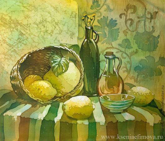 Натюрморт ручной работы. Ярмарка Мастеров - ручная работа. Купить Соррентийские лимоны - картина на шелке в технике горячий батик.. Handmade.