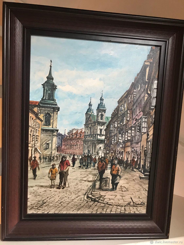 Painting 'Streets of Warsaw', oil, Poland, Vintage interior, Arnhem,  Фото №1