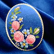 Украшения ручной работы. Ярмарка Мастеров - ручная работа Брошь с вышивкой Английские розы. Handmade.