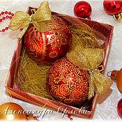 Подарки к праздникам ручной работы. Ярмарка Мастеров - ручная работа Набор новогодних шариков. Handmade.