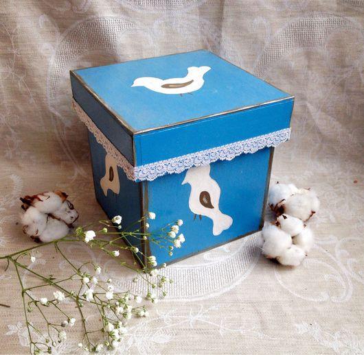 """Корзины, коробы ручной работы. Ярмарка Мастеров - ручная работа. Купить Короб """"Птички"""". Handmade. Голубой, короб для кухни"""