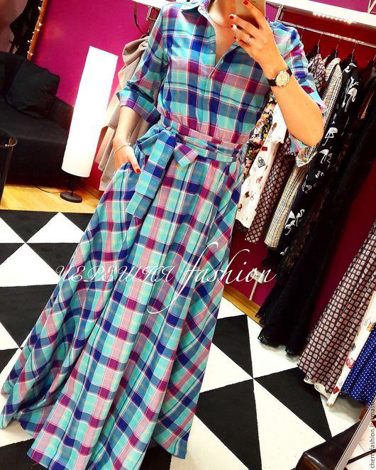 """Платья ручной работы. Ярмарка Мастеров - ручная работа. Купить Платье - рубашка """"Кристи"""" (лагуна). Handmade. Бирюзовый, платье в клетку"""