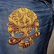 Одежда handmade. Livemaster - original item the embroidery on the clothing of the golden skull
