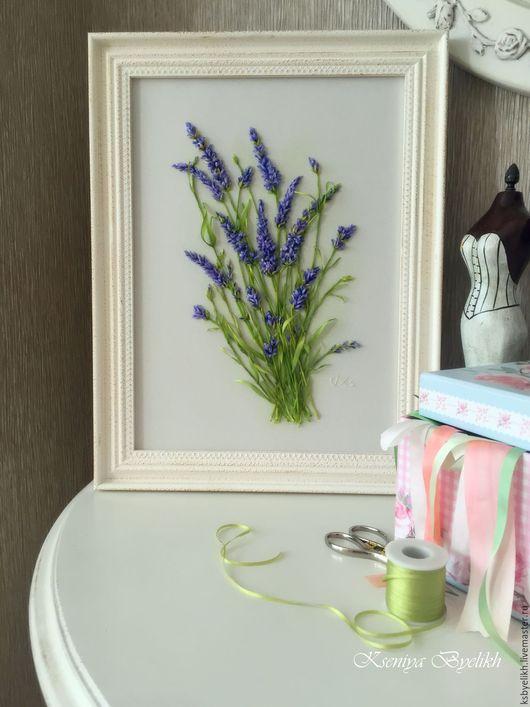 Картины цветов ручной работы. Ярмарка Мастеров - ручная работа. Купить Лаванда. Handmade. Комбинированный, шёлковая лента