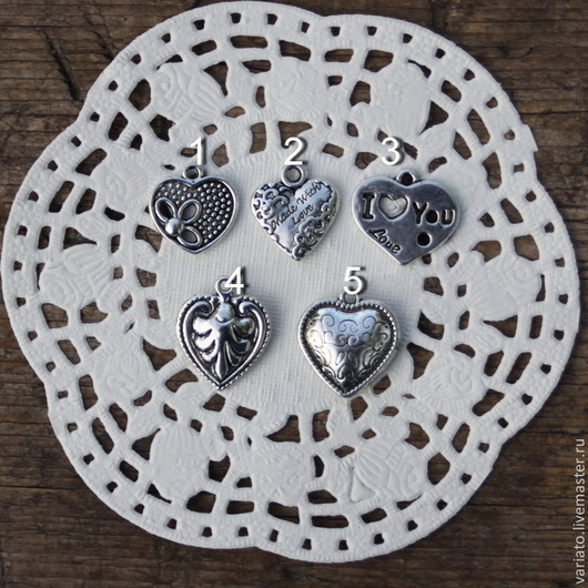 ФОТО № 1. Сердце 19х19 мм. Цвет: античное серебро. № 1, 3 19 руб. №№ 2, 4, 5 23 руб. Указывайте номер и количество Цена за набор из 5-ти штук разных 100 руб.