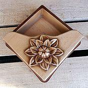 Для дома и интерьера ручной работы. Ярмарка Мастеров - ручная работа Салфетница деревянная резная Цветок. Handmade.