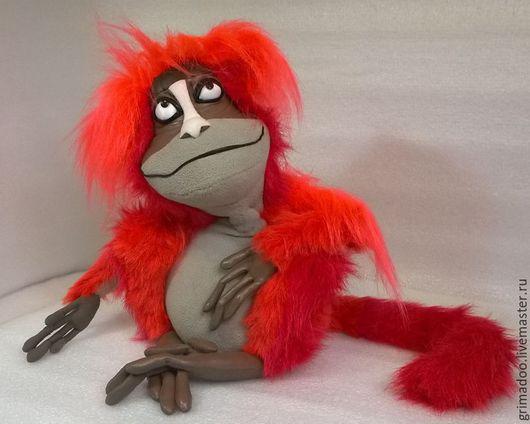 Игрушки животные, ручной работы. Ярмарка Мастеров - ручная работа. Купить огненная обезьяна. Handmade. Ярко-красный, кожзам