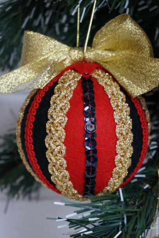 Новый год 2017 ручной работы. Ярмарка Мастеров - ручная работа. Купить Новогодний комплект шаров. Handmade. Шары на елку, год петуха