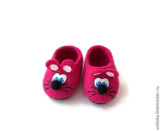 """Детская обувь ручной работы. Ярмарка Мастеров - ручная работа. Купить Тапочки детские """"Мышата"""". Handmade. Фуксия, тапочки, войлок"""
