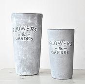 Цветы и флористика handmade. Livemaster - original item Set concrete vases with surround inscription FLOWERS AND GARDEN. Handmade.