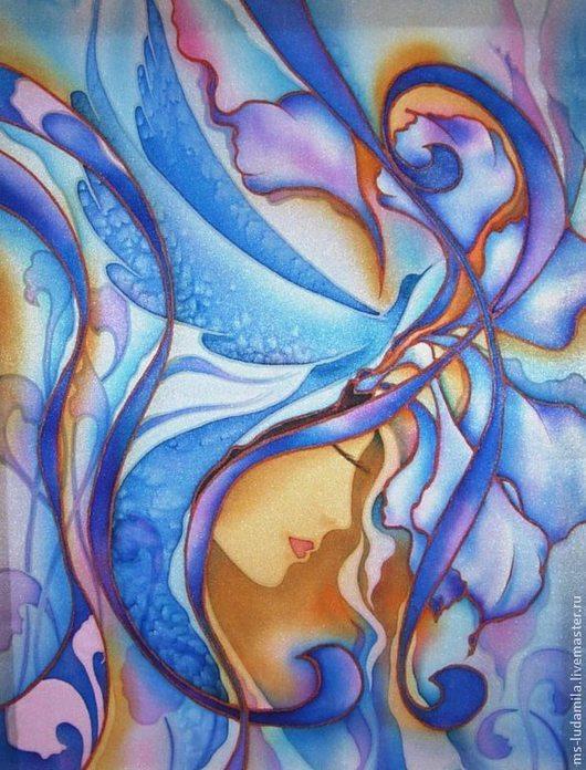 """Картины цветов ручной работы. Ярмарка Мастеров - ручная работа. Купить Батик Картина """"Синяя птица(2). Handmade. Синий"""
