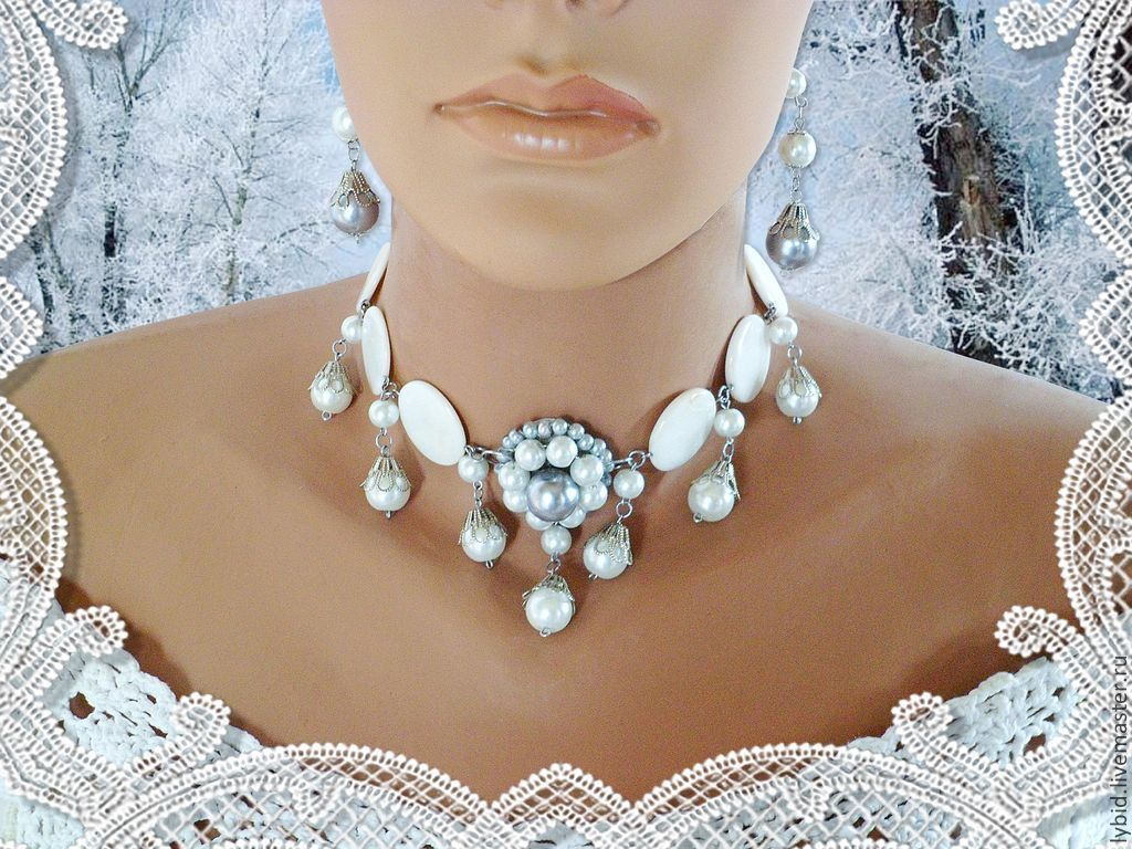 wedding necklace and earrings mother of pearl natural, Wedding Jewelry Sets, Varna,  Фото №1