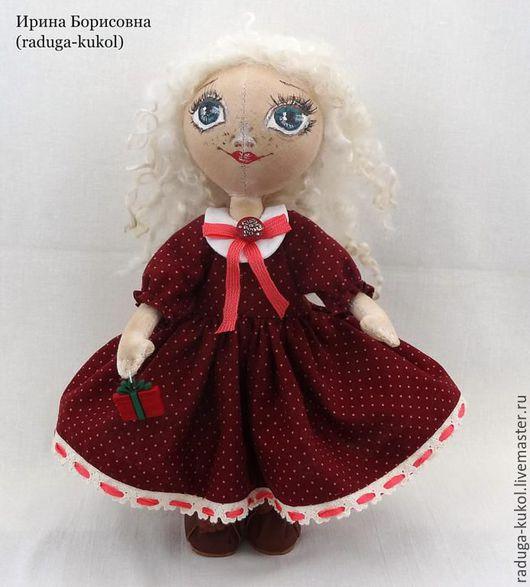 Куклы тыквоголовки ручной работы. Ярмарка Мастеров - ручная работа. Купить Варя. Handmade. Бордовый, кружево хлопок