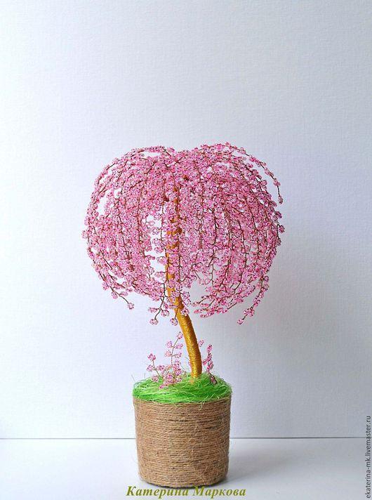 Деревья ручной работы. Ярмарка Мастеров - ручная работа. Купить дерево Сакура пышная 2 из бисера. Handmade. Бледно-розовый