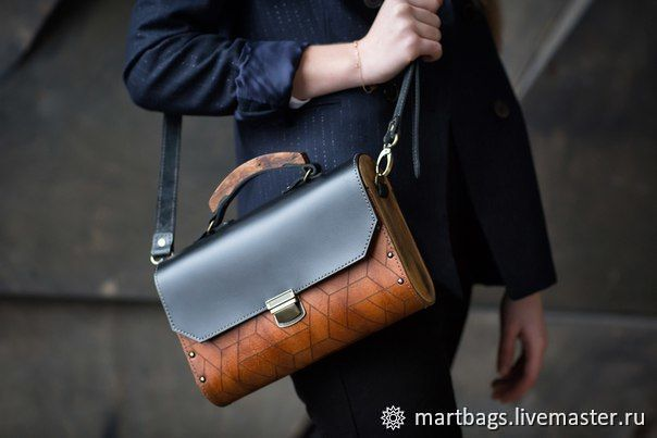 Black leather Geometry Bag with wood, Classic Bag, St. Petersburg,  Фото №1