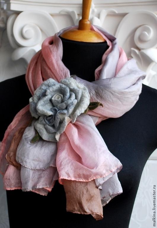Шали, палантины ручной работы. Ярмарка Мастеров - ручная работа. Купить Шелковый шарф-палантин Нежность. Handmade. Розовый