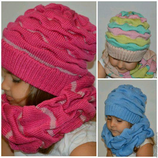 Шапки и шарфы ручной работы. Ярмарка Мастеров - ручная работа. Купить вязаный комплект для девочки, шапочка и снуд  клоке в ассортименте. Handmade.