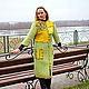 """Пиджаки, жакеты ручной работы. Заказать Пальто """"Mosaic in green"""". ElKo (Элла Ковалева). Ярмарка Мастеров. Салатовый, шерсть"""