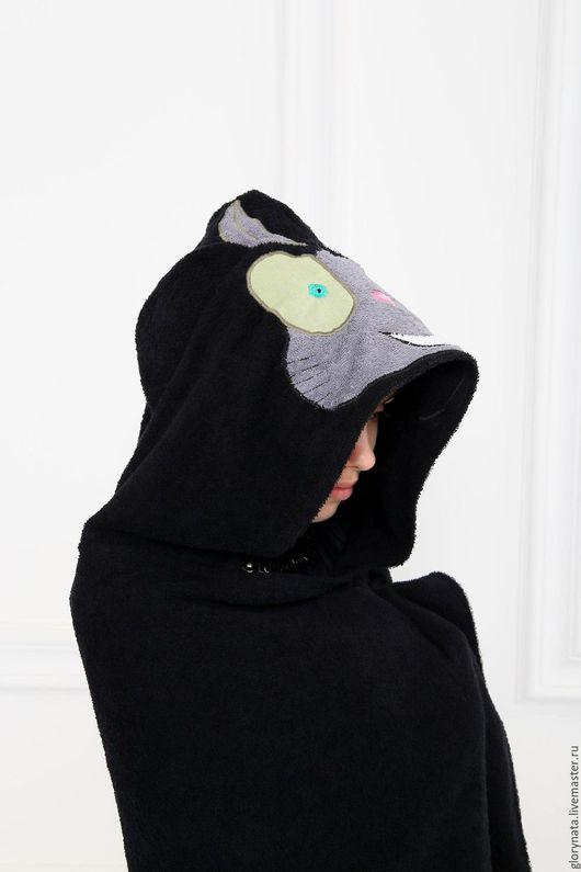Для дома и интерьера ручной работы. Ярмарка Мастеров - ручная работа. Купить Махровое полотенце с капюшоном Черныш Куро (Синий Экзорцист). Handmade.