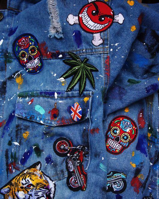 Верхняя одежда ручной работы. Ярмарка Мастеров - ручная работа. Купить Куртка джинсовая. Handmade. Голубой, джинса, краска по ткани