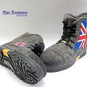 """Ботинки ручной работы. Ярмарка Мастеров - ручная работа Валяные ботинки """"С любовью к Англии"""". Handmade."""