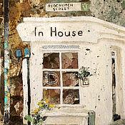 Картины и панно handmade. Livemaster - original item Painting In House (cafe, street, gray, brown). Handmade.